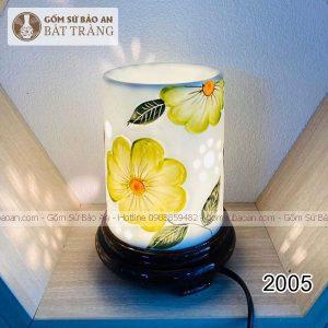 Đèn Xông Tinh Dầu Sứ Thấu Quang Trụ Hoa Nổi Bát Tràng - 2005