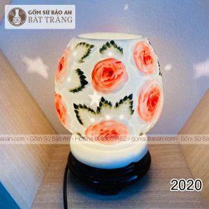 Đèn Xông Tinh Dầu Sứ Trám Hoa Bát Tràng - 2020