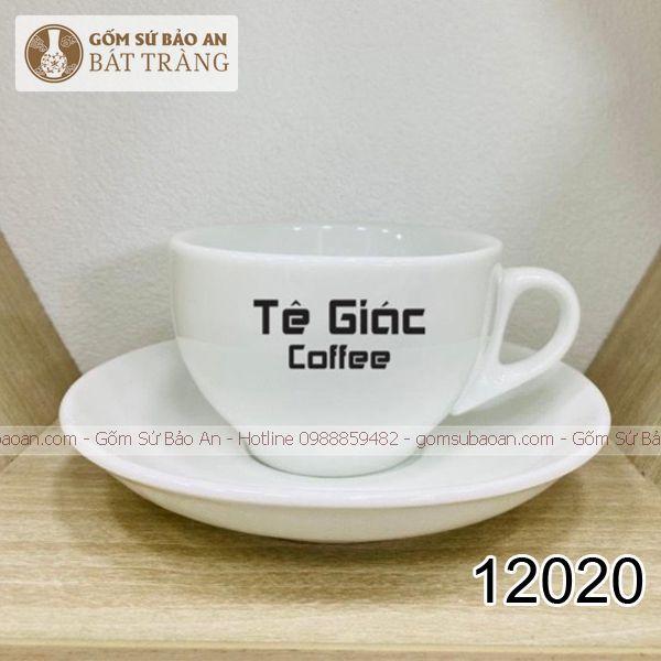 Cốc Cafe Trắng Bát Tràng Inlogo Classic - 12020