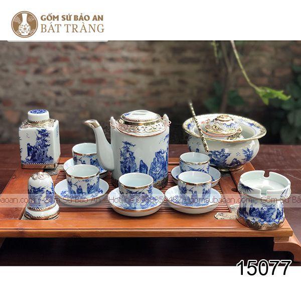 Bộ Ấm Tích Pha Chè Xanh Men Lam Bọc Đồng - 15077