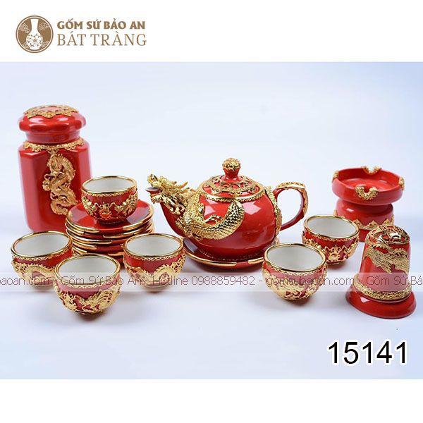 Bộ Ấm Chén Rồng Vàng Cao Cấp Bát Tràng - 15141