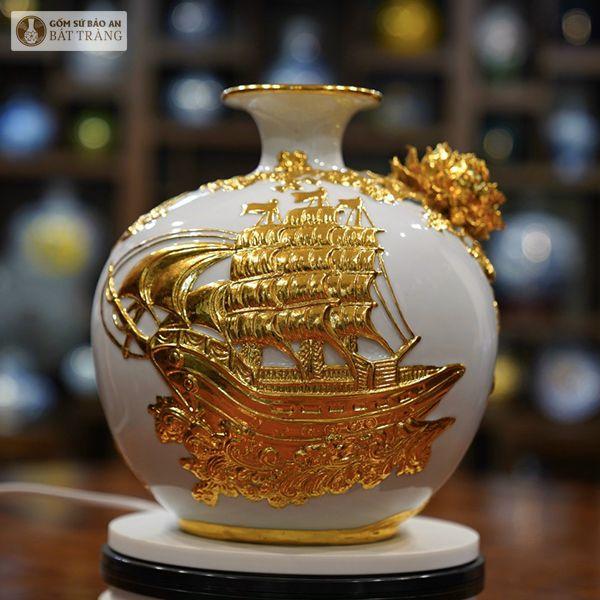 Bình Hút Lộc Vẽ Vàng Thuận Buồm Xuôi Gió 30cm - 25239