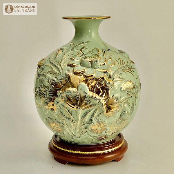 Bình Hút Lộc Sen Vẽ Vàng Đắp Nổi 35cm - 25244